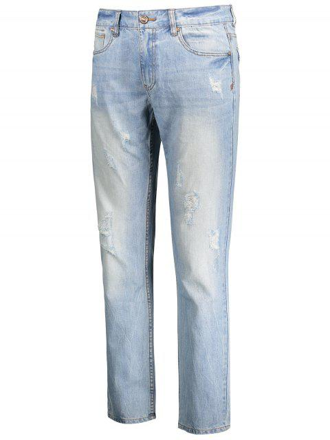 Worn Ripped Zip Fly Straight Jeans - Bleu clair 36 Mobile