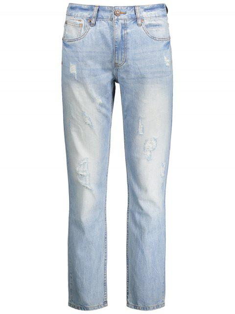 ladies Worn Ripped Zip Fly Straight Jeans - LIGHT BLUE 36 Mobile