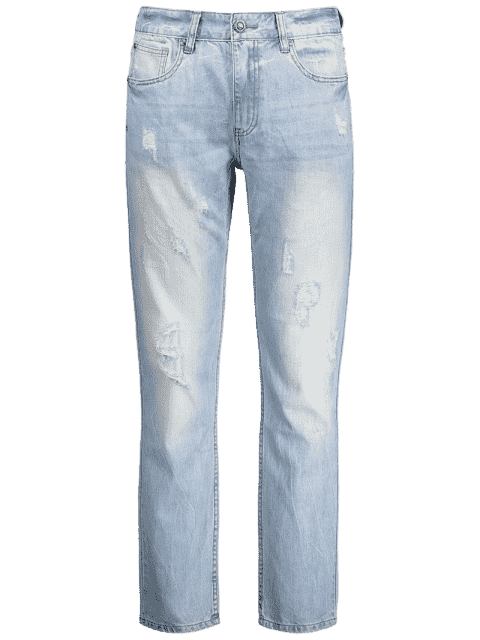 best Worn Ripped Zip Fly Straight Jeans - LIGHT BLUE 34 Mobile
