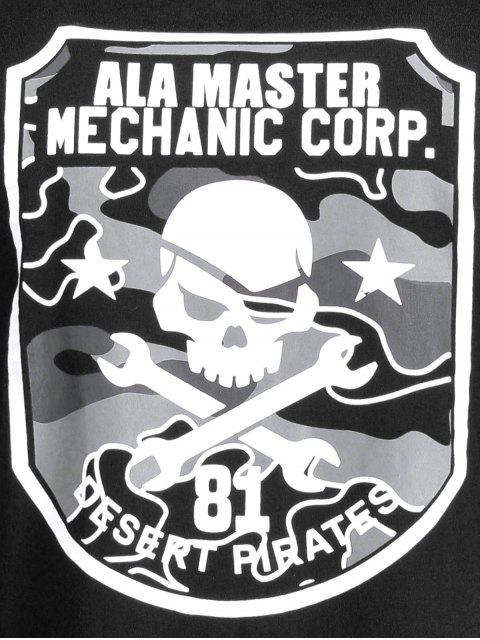 chic Graphic Skull Print Short Sleeve Tee - BLACK XL Mobile