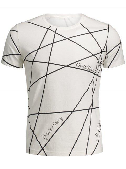 Männer-Kurzarm-T-Shirt mit Geo-Druck - Weiß 2XL Mobile