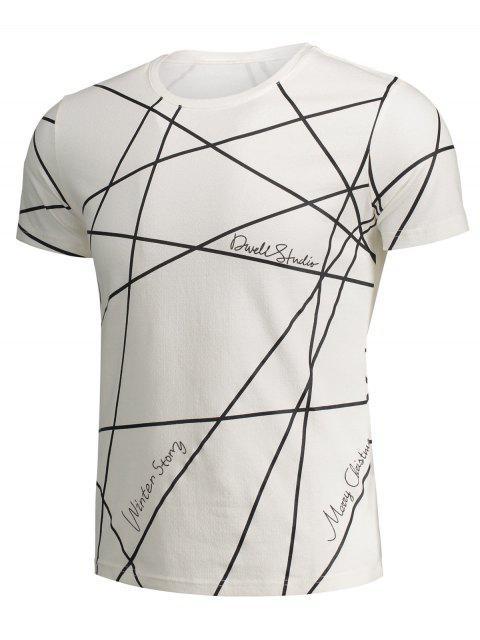 women's Mens Short Sleeve Geo Print Tee - WHITE XL Mobile