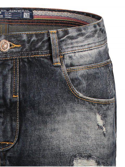 ladies Bermuda Ripped Denim Shorts - BLACK XL Mobile
