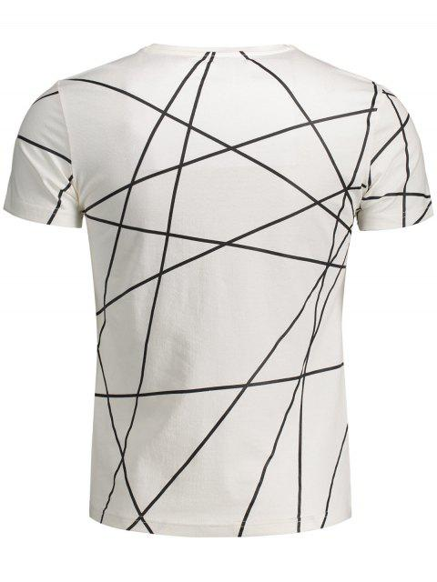 lady Mens Short Sleeve Geo Print Tee - WHITE L Mobile