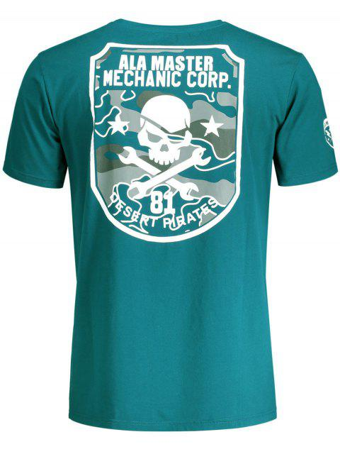outfits Graphic Skull Print Short Sleeve T-shirt - BLUE GREEN XL Mobile