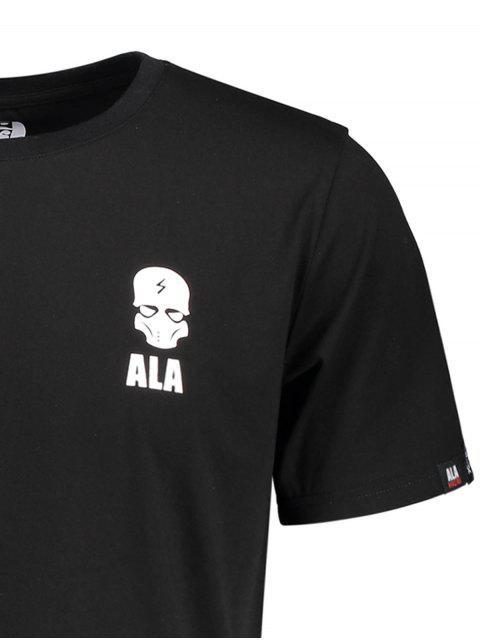 sale Graphic Letter Skull Print Short Sleeve T-shirt - BLACK XL Mobile