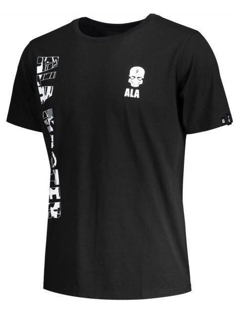 Lettre graphique T-shirt manches courtes à imprimé crânien - Noir L Mobile