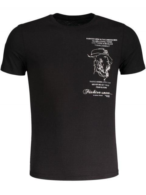 T-shirt en coton brodé pour femme - Noir 2XL Mobile