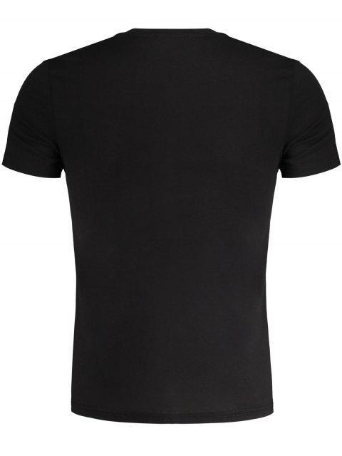 Herrn Gesticktes Slub T-Shirt aus Baumwolle - Schwarz L Mobile