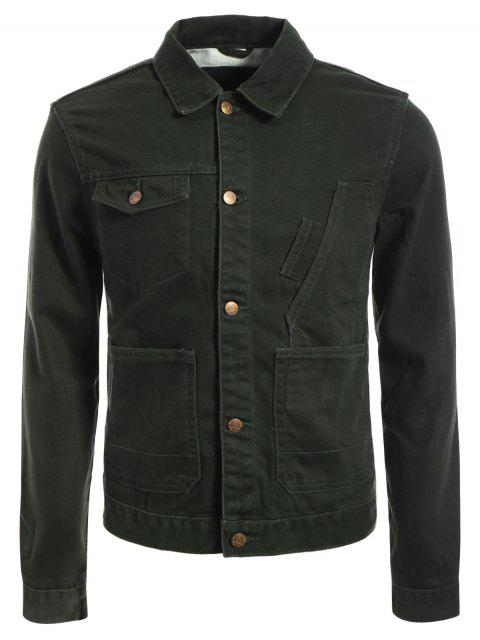 best Slim Fit Front Pockets Denim Jacket - ARMY GREEN L Mobile