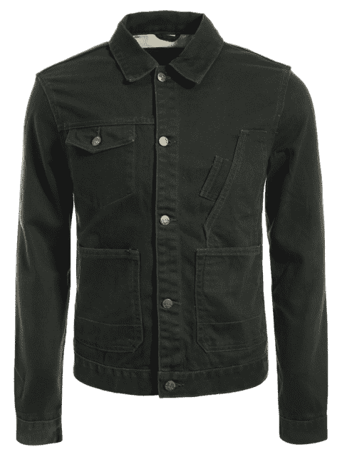 new Slim Fit Front Pockets Denim Jacket - ARMY GREEN M Mobile