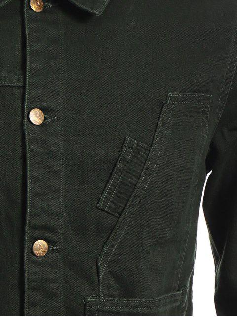 Slim Fit Front Pockets Denim Jacket - Vert Armée S Mobile