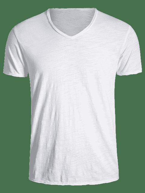 women Mens V Neck Cotton Basic Tee - WHITE 2XL Mobile