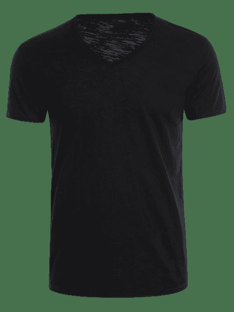 hot Mens V Neck Cotton Basic Tee - BLACK XL Mobile
