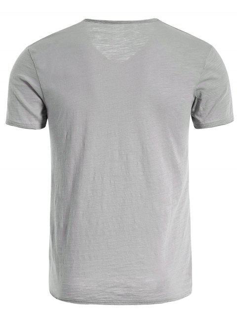 latest Mens V Neck Cotton Basic Tee - LIGHT GRAY XL Mobile