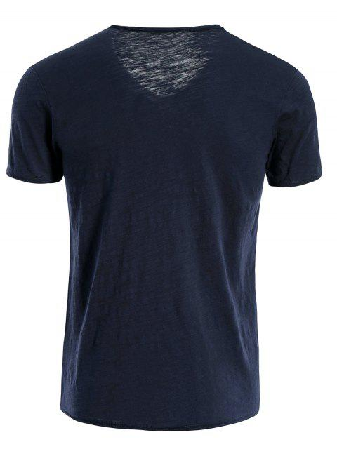 trendy Mens V Neck Cotton Basic Tee - BLUE 2XL Mobile