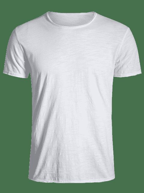 hot Round Neck Raw Edge Mens Basic Tee - WHITE 2XL Mobile