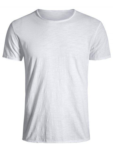outfit Round Neck Raw Edge Mens Basic Tee - WHITE XL Mobile