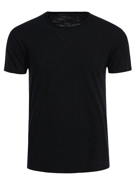 T-shirt Basique Simple Col Rond - Noir XL Mobile