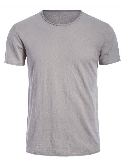 shops Round Neck Raw Edge Mens Basic Tee - GRAY 2XL Mobile