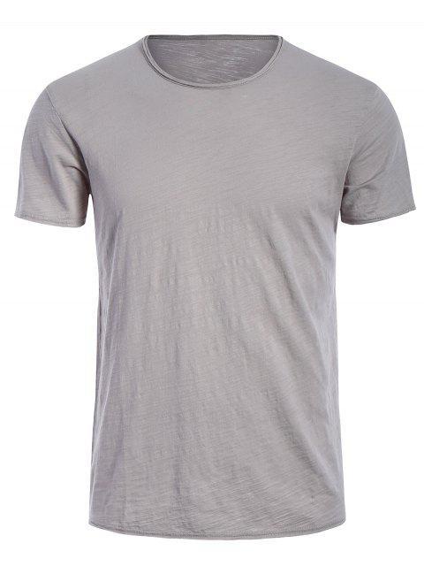 T-shirt Basique Simple Col Rond - Gris XL Mobile
