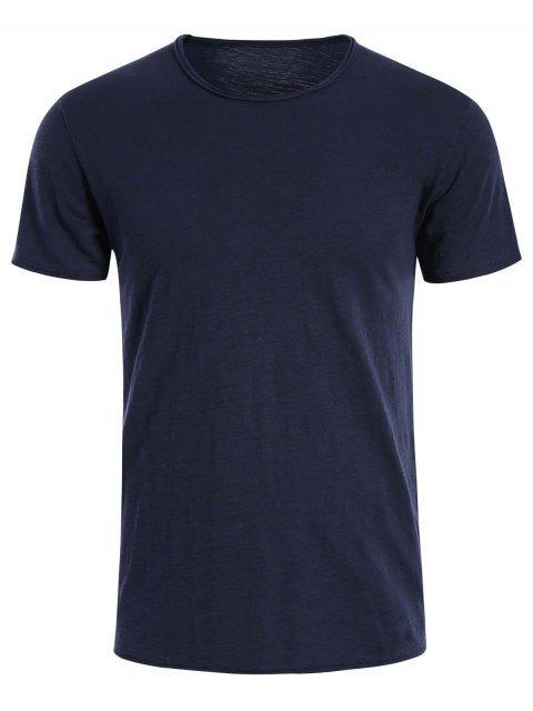 T-shirt Basique Simple Col Rond - Bleu Foncé 2XL Mobile