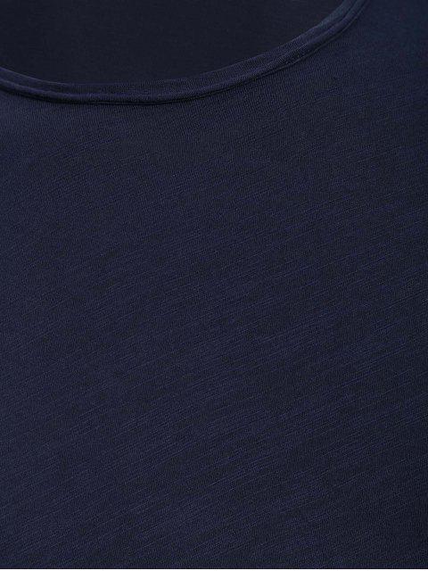 trendy Round Neck Raw Edge Mens Basic Tee - DEEP BLUE 2XL Mobile