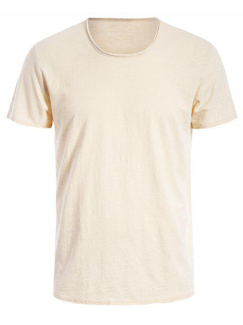 unique Round Neck Raw Edge Mens Basic Tee - OFF-WHITE 2XL Mobile