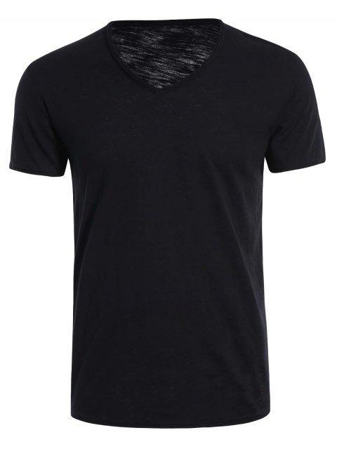 online Mens V Neck Cotton Basic Tee - BLACK 2XL Mobile