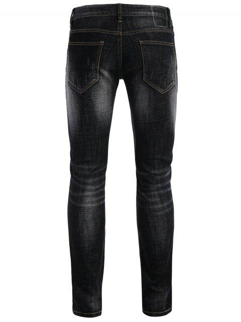 best Zipper Fly Straight Worn Jeans - BLACK 38 Mobile