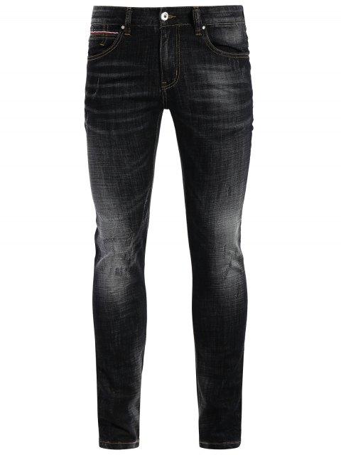 online Zipper Fly Straight Worn Jeans - BLACK 42 Mobile