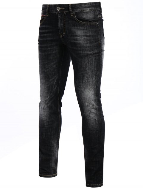 Zipper Fly Straight Worn Jeans - Noir 42 Mobile