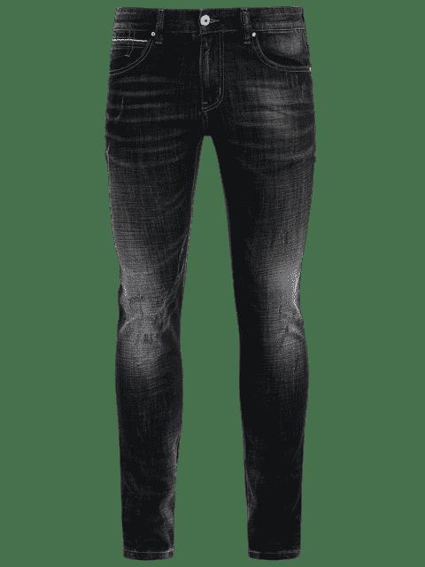 Zipper Fly Straight Worn Jeans - Noir 40 Mobile