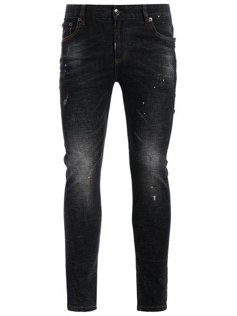 unique Zipper Fly Worn Vintage Jeans - BLACK 36 Mobile