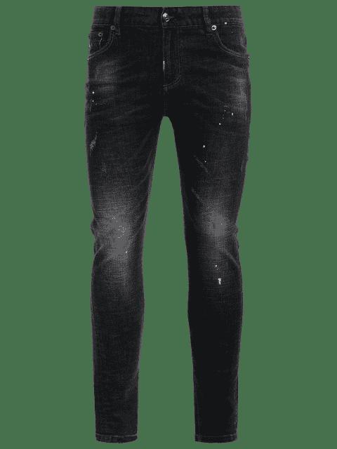 Zipper Fly Worn Vintage Jeans - Noir 34 Mobile