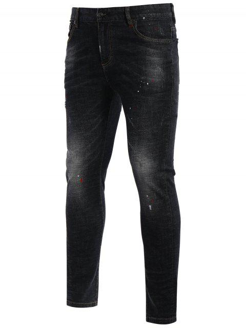 Zipper Fly Worn Vintage Jeans - Noir 32 Mobile