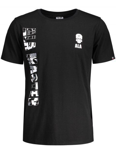 Kurzarm T-Shirt mit Schädeldruck und Buchstabegrafik - Schwarz L Mobile