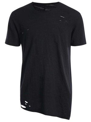 Raw Edge Distressed Asymmetric Tee - Black M
