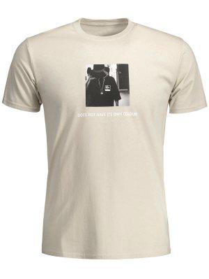 Camiseta Delantera Gráfica Para Hombre - Caqui 2xl