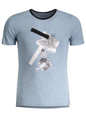 Camiseta Gráfica Manchada Para Hombre Del Jersey - Azul 4xl