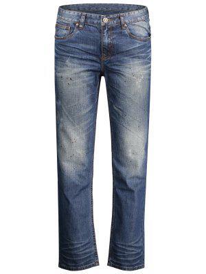 Worn Zip Fly Straight Jeans - Denim Blue 38