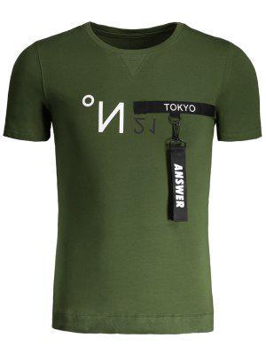 Camiseta De Cuello Redondo Con Detalle De Contraste Para Hombre - Verde 4xl