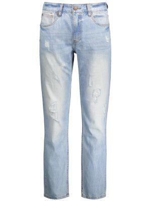 Worn Ripped Zip Fly Straight Jeans - Light Blue 38