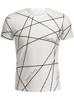 Mens Short Sleeve Geo Print Tee - White 2xl