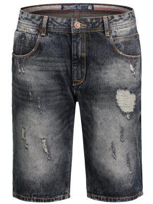 Bermudas Ripped Denim Shorts - Negro 2xl