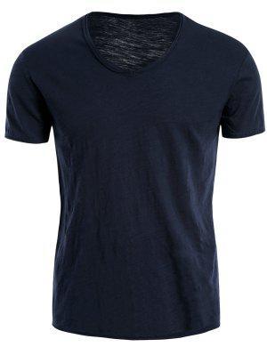 Mens V Neck Cotton Basic Tee - Blue 2xl