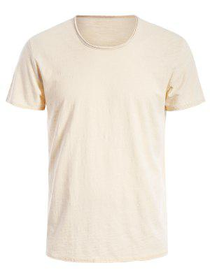 Round Neck Raw Edge Mens Basic Tee - Off-white 2xl