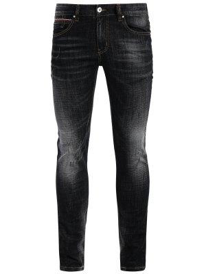 Zipper Fly Straight Worn Jeans - Black 36