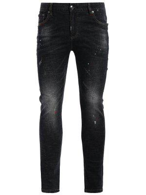 Zipper Fly Worn Vintage Jeans - Noir 36