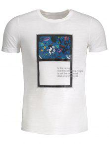 Mens Floral Panel Tee - White 3xl